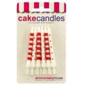 Red Dots And Stripes Party Candles With Holders – Pack of 12