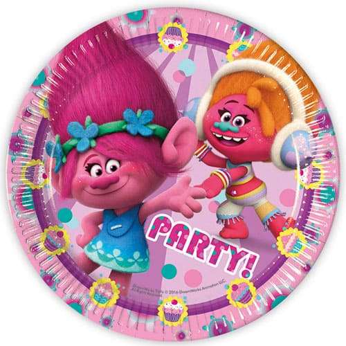 Trolls Round Paper Plates 23cm - Pack of 8