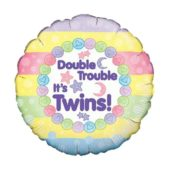 Baby Shower Double Trouble Round Foil Helium Balloon 46cm / 18Inch