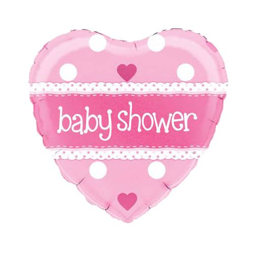 Baby Shower Pink Heart Shape Foil Helium Balloon 46cm / 18Inch Product Image