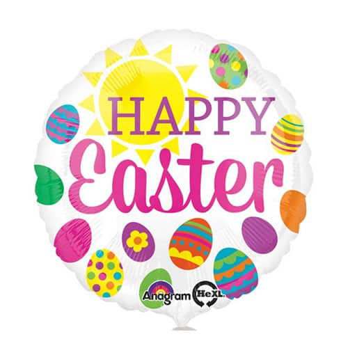 Happy Easter Eggs Round Foil Helium Balloon 43cm / 17Inch