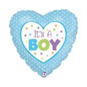 Its A Boy Dots Heart Shaped Foil Helium Balloon 46cm / 18Inch