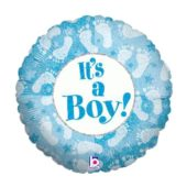 Its A Boy Footprints Design Round Foil Helium Balloon 46cm / 18Inch