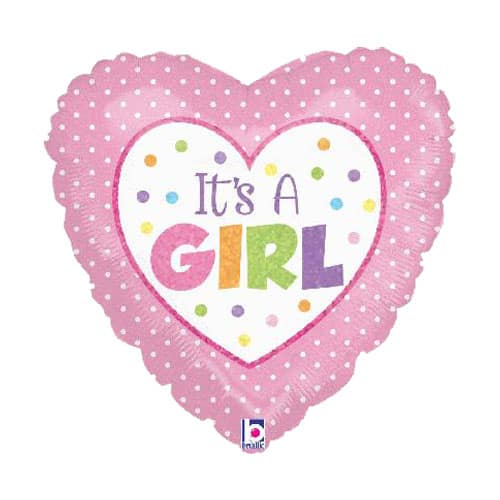 Its A Girl Dots Heart Shaped Foil Helium Balloon 46cm / 18Inch