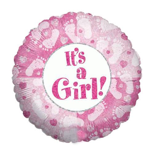 Its A Girl Footprints Design Round Foil Helium Balloon 46cm / 18Inch Product Image