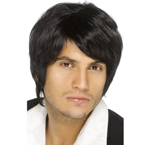 Mens Boy Band Short Wig Black