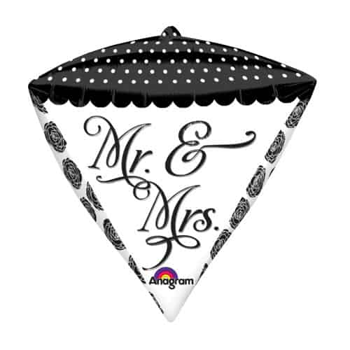 Mr and Mrs Diamondz Foil Helium Balloon 43cm / 17Inch