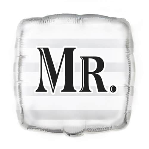 Mr Silver Square Foil Helium Balloon 46cm / 18Inch