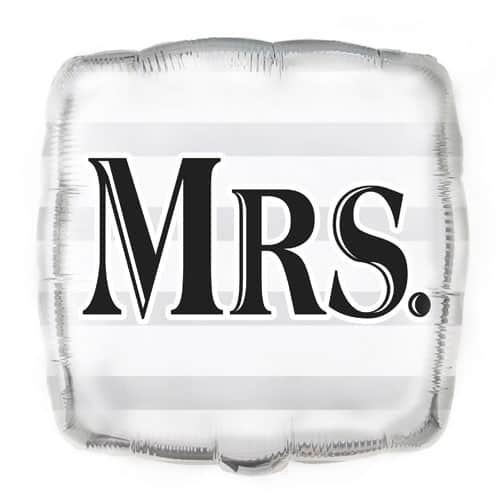 Mrs Silver Square Foil Helium Balloon 46cm / 18Inch