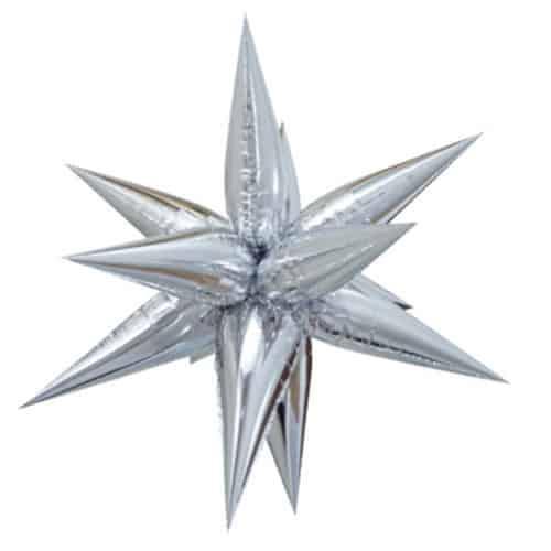 Silver 3D Star Foil Balloon 70cm / 28Inch