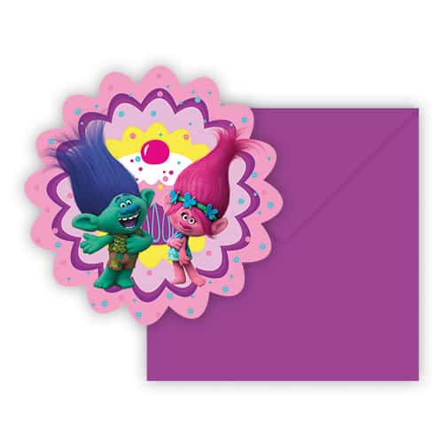 Trolls Shaped Party Invitations With Envelopes - Pack of 6