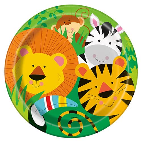 Animal Jungle Round Paper Plates 22cm - Pack of 8