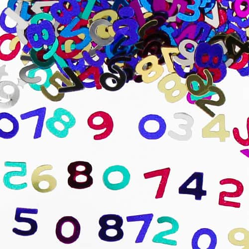 Assorted Numbers Multi Colour Table Confetti - 14 Grams