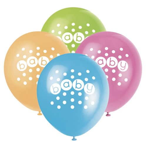 Baby Shower Biodegradable Latex Balloons 30cm -Pack Of 8 Product Image