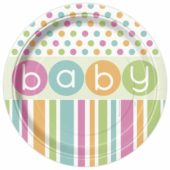 Baby Shower Round Paper Plate 22cm