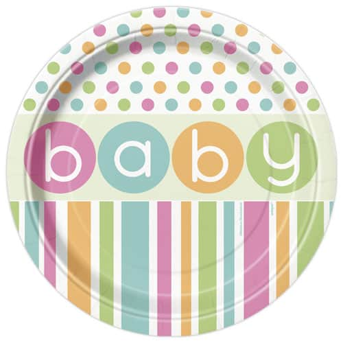 Baby Shower Plate: Baby Shower Round Paper Plate 22cm