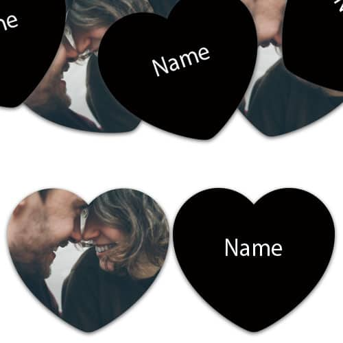 HEART Shape - Black Personalised Confetti - Pack of 50
