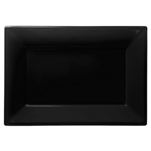 Black Rectangular Plastic Serving Tray 23 x 33cm - Pack of 3