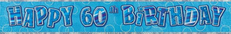 Blue Glitz 60th Birthday Prismatic Banner – 274cm