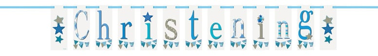 Christening Blue Flag Banner 213cm