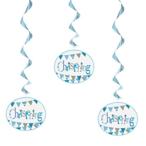 Christening Blue Hanging Decorations Pack Of 3