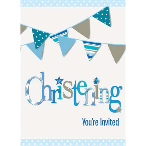 Christening Blue Invitations with Envelopes - Pack of 8