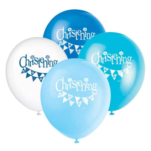 Christening Blue Biodegradable Latex Balloons 30cm -Pack Of 8 Product Image
