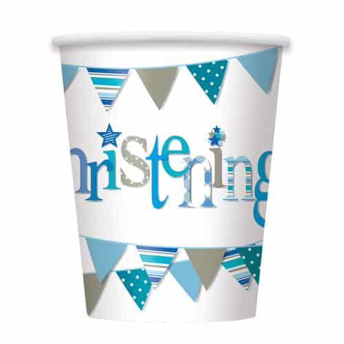 Christening Blue Paper Cups 270ml - Pack of 8