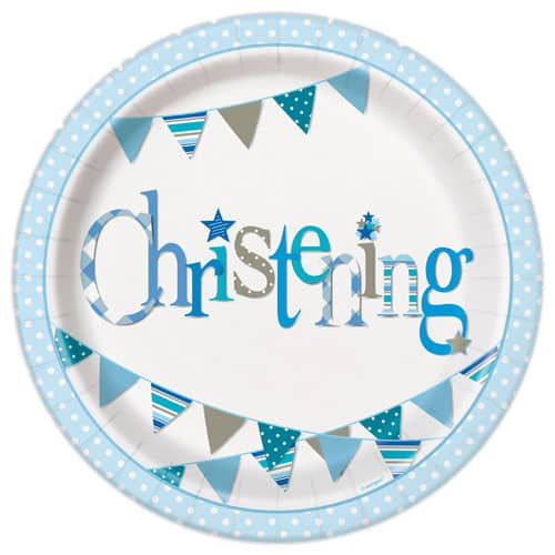 Christening Blue Round Paper Plates 22cm - Pack of 8
