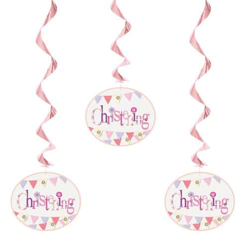 Christening Pink Hanging Decorations Pack Of 3