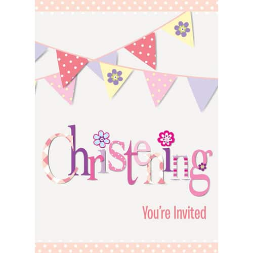 Christening Pink Invitations with Envelopes - Pack of 8