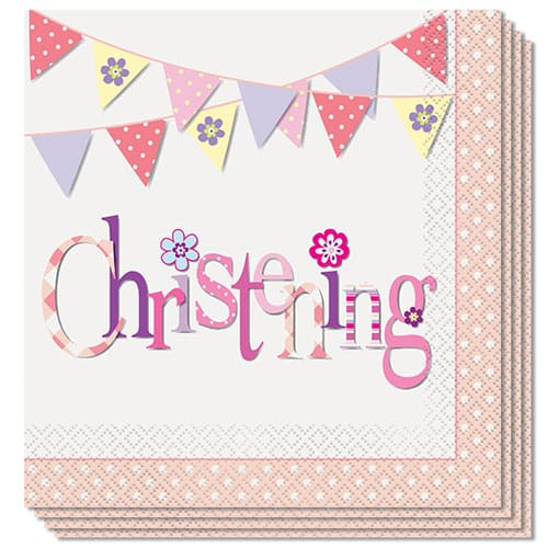 Christening Pink Luncheon Napkins 2Ply 33cm Pack Of 16 Product Image