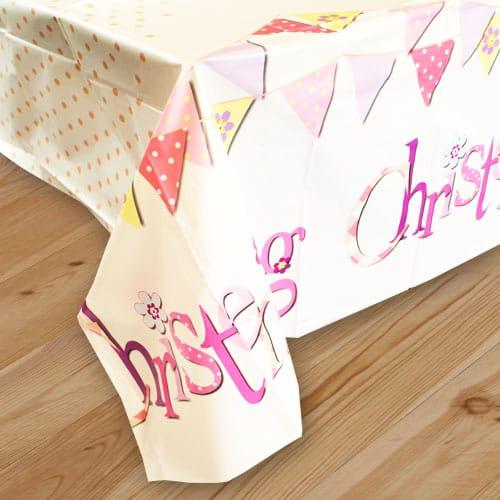 Christening Pink Plastic Tablecover 213cm x 137cm