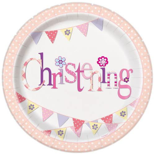 Christening Pink Round Paper Plates 22cm - Pack of 8