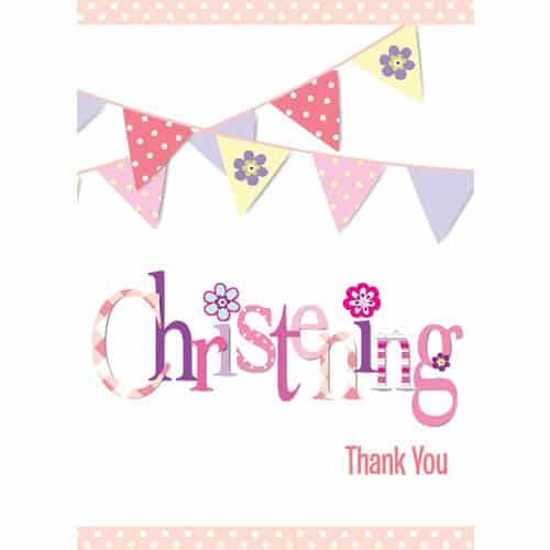 Christening Pink Thank You Cards With Envelopes - Pack of 8