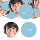 CIRCLE Shape – Baby-Blue Personalised Confetti – Pack of 50