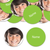 CIRCLE Shape – Lime-Green Personalised Confetti – Pack of 50