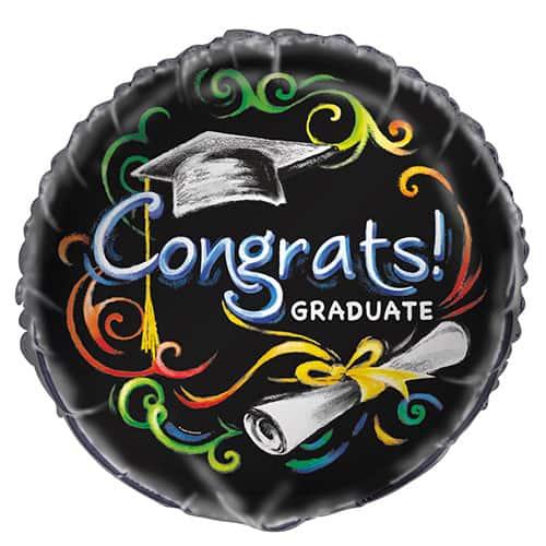 Congrats Graduate Round Foil Helium Balloon 46cm / 18Inch