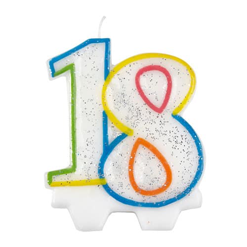 Glitter 18th Birthday Shape Candle