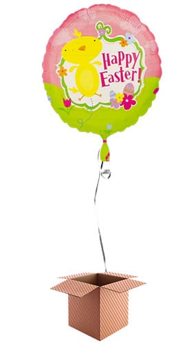 Happy Easter Foil Balloon - Inflated Balloon in a Box