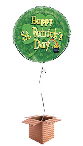 Happy St Patricks Day Pot of Gold Round Foil Balloon - Inflated Balloon in a Box