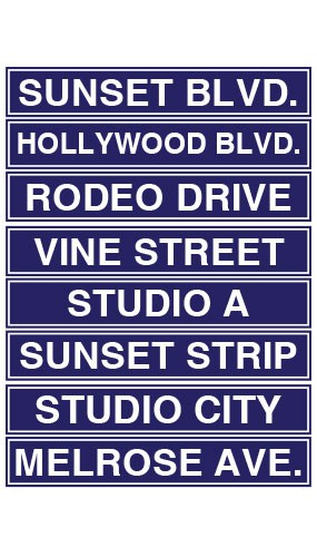 Hollywood Street Sign Decorations 61cm Pack Of 8