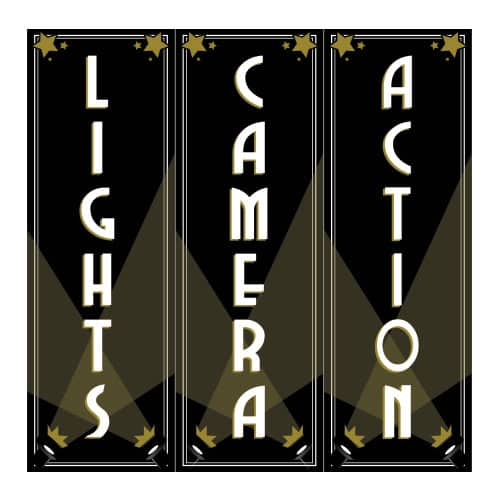 Lights Camera Action Decorations 60cm Pack of 3 | Partyrama