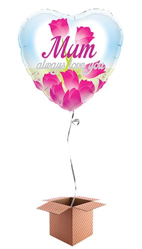 Mum Always Love You Heart Shape Foil Balloon - Inflated Balloon in a Box
