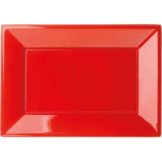 Red Rectangular Plastic Serving Tray 23 x33cm - Pack of 3