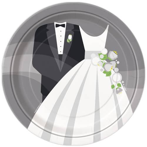 Silver Wedding Round Paper Plate - 22cm Product Image