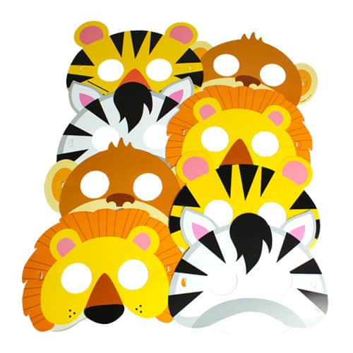 Animal Jungle Paper Face Mask - Pack of 8