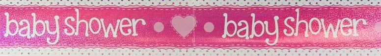 Baby Shower Pink Foil Banner 270cm
