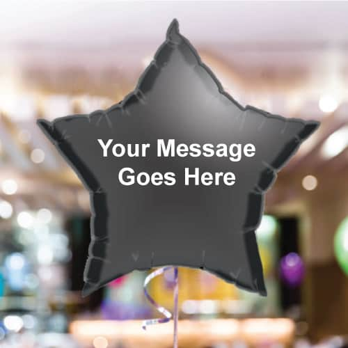 Personalised Black Star Foil Balloon - Pack of 10