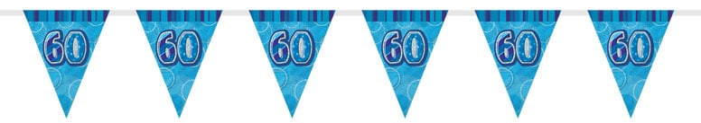 Blue Glitz 60th Birthday Bunting 274cm Product Image